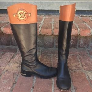 Michael Kors Black Tan Riding Boots